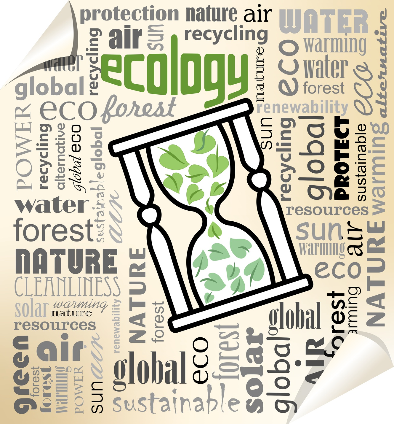 Ecology environmental theme with hourglass on typographic background, EPS10 vector. Suitable in environmental presentation or educational publications on environment